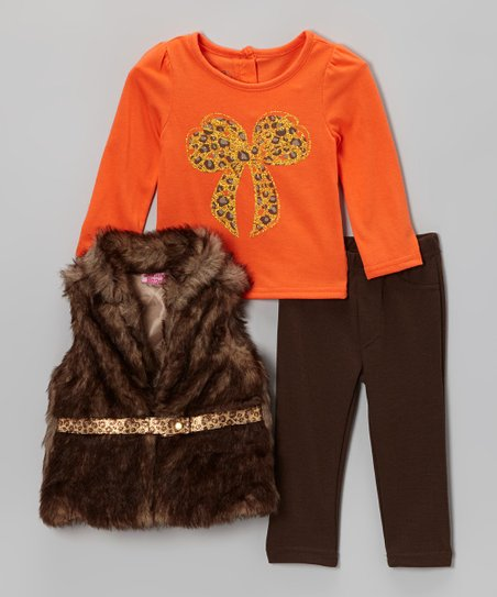 Orange & Brown Leopard Faux Fur Vest Set - Girls