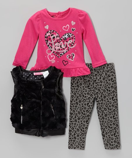 Pink & Black Leopard Faux Fur Vest Set - Infant, Toddler & Girls
