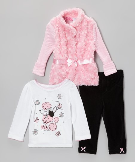 Pink Poodle Faux Fur Sweater Set - Infant & Girls
