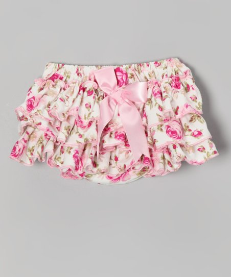 Pink Rose Ruffle Diaper Cover - Infant & Toddler