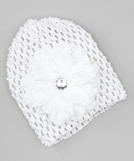 White Jewel Flower Beanie