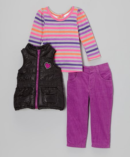 Purple & Black Heart Puffer Vest Set - Infant
