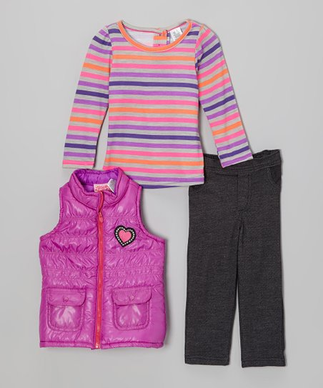 Purple Heart Puffer Vest Set - Infant, Toddler & Girls