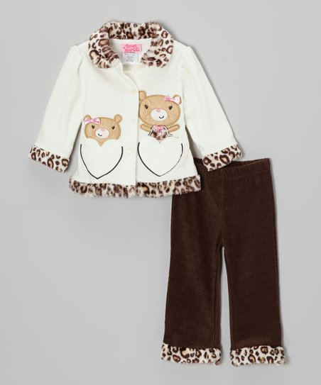 Beige Leopard Bear Jacket & Brown Pants - Infant