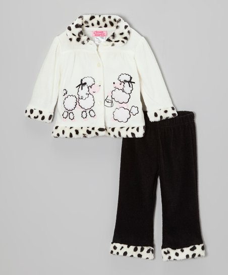 White Dalmatian Poodle Jacket & Black Pants - Infant