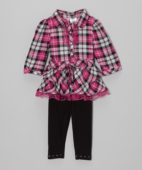 Pink Plaid Lace Button-Up & Black Leggings - Infant & Girls