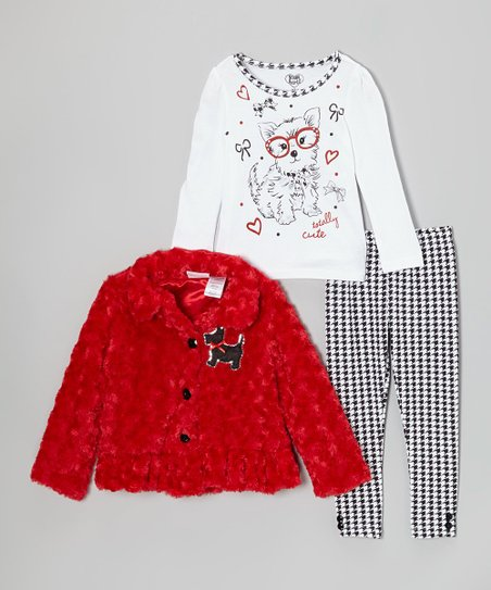 Red Scottie Dog Faux Fur Jacket Set - Girls