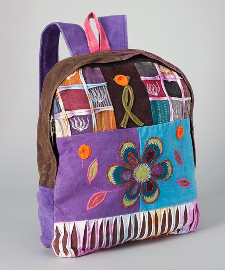 Purple & Brown Patchwork Backpack