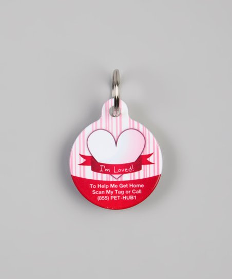 PetHub Pink & Red 'I'm Loved!' QR Code Pet Tag