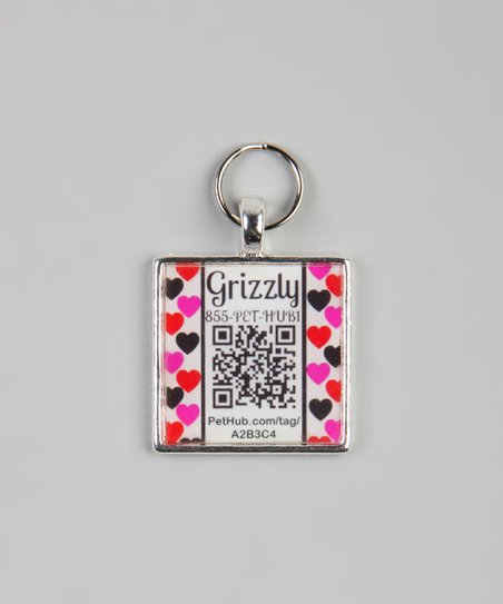 PetHub Pink Heart Personalized Square Pet Tag