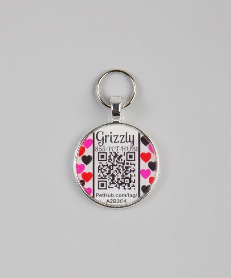 Pink Heart Personalized Round Pet Tag