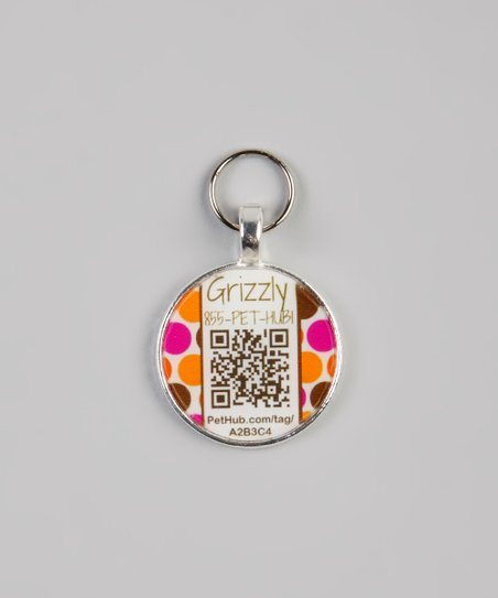 PetHub Pink & Orange Polka Dot Personalized Round Pet Tag