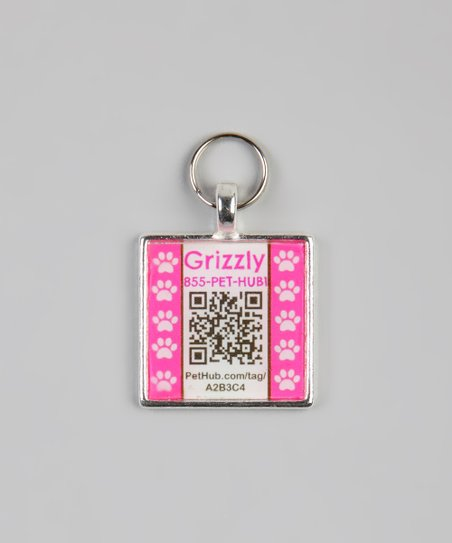 PetHub Pink Paw Personalized Square Pet Tag