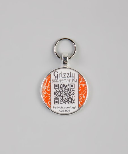 PetHub Orange Garden Party Personalized Round Pet Tag
