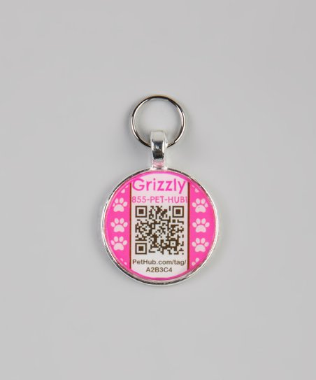 Pink Paw Personalized Round Pet Tag