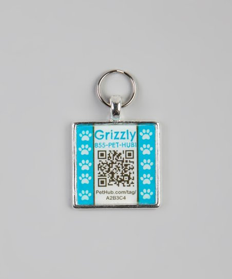 PetHub Blue Paw Personalized Square Pet Tag