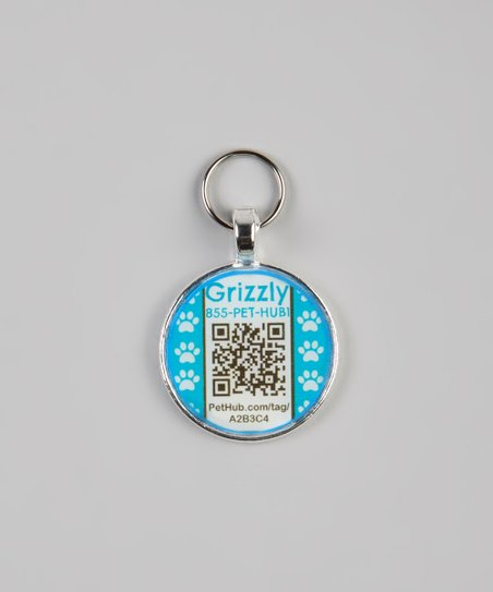 Blue Paw Personalized Round Pet Tag