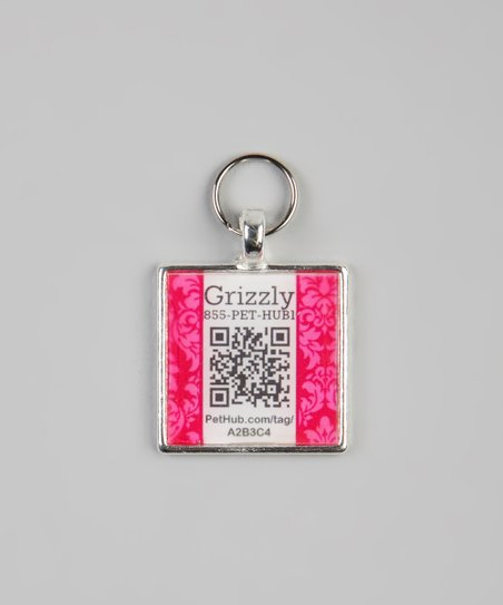 Pink Damask Personalized Square Pet Tag