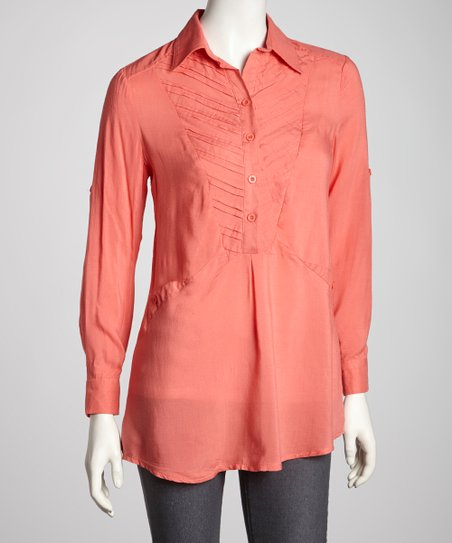 Coral Button Long-Sleeve Top