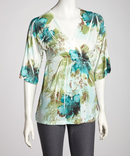 Green & Teal Floral Sublimation V-Neck Top