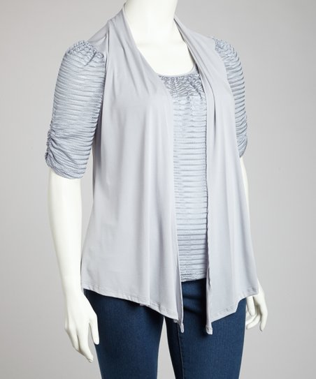 Gray & White Stripe Open Cardigan - Plus
