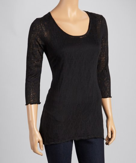 Black Burnout Three-Quarter Sleeve Top