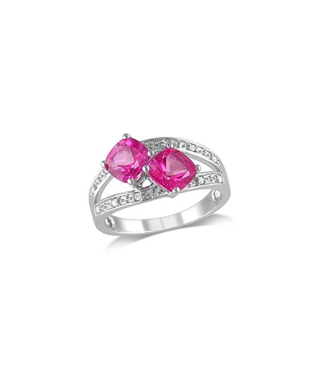 Diamond & Pink Topaz Duo Ring