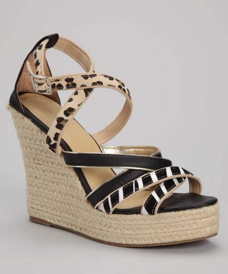 Black & Zebra Cross-Strap Espadrille