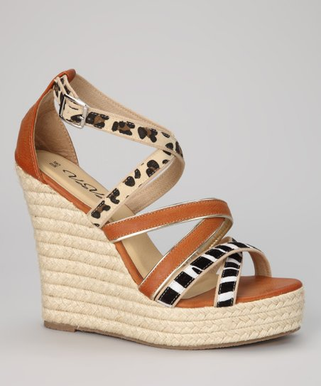 Tan & Zebra Cross- Strap Espadrille