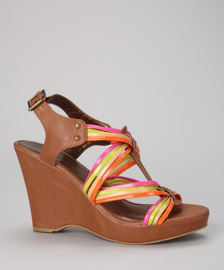 Cognac & Pink Strappy Wedge