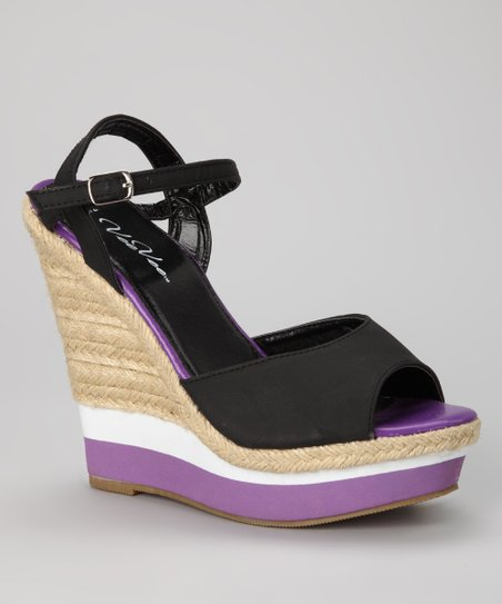 Black &amp; Purple Stripe Espadrille