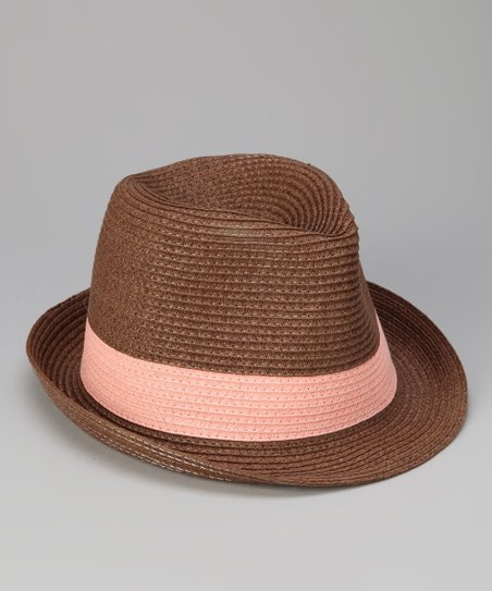 Brown & Coral Band Fedora