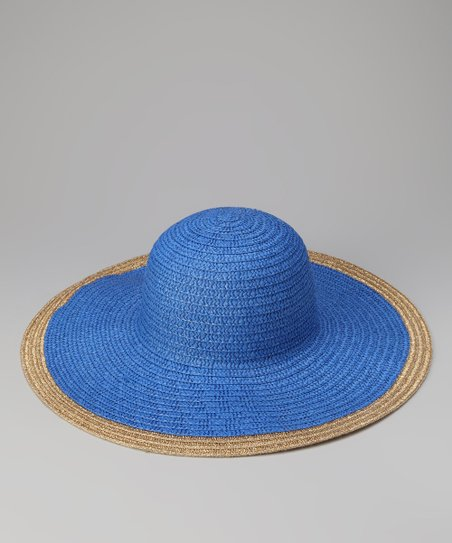 Blue Metallic Trim Sun Hat