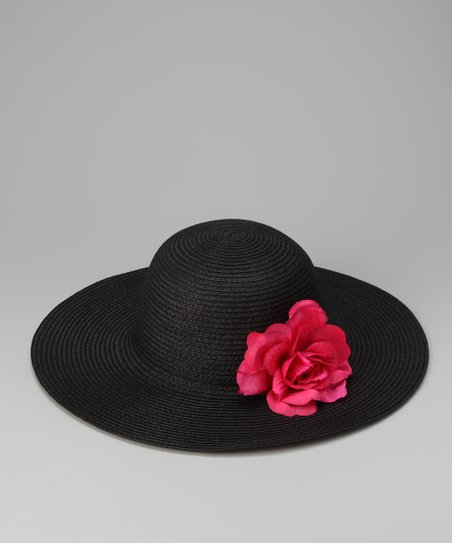 Black & Pink Flower Sun Hat