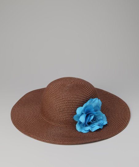 Brown & Blue Flower Sun Hat