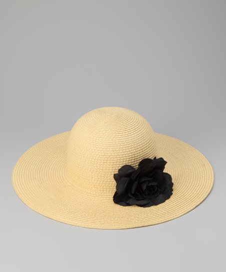Tan & Black Flower Sun Hat