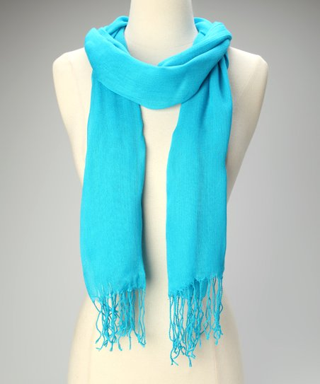 Neon Blue Fringe Scarf