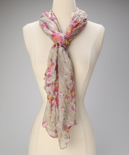 Ivory Floral Crinkle Scarf