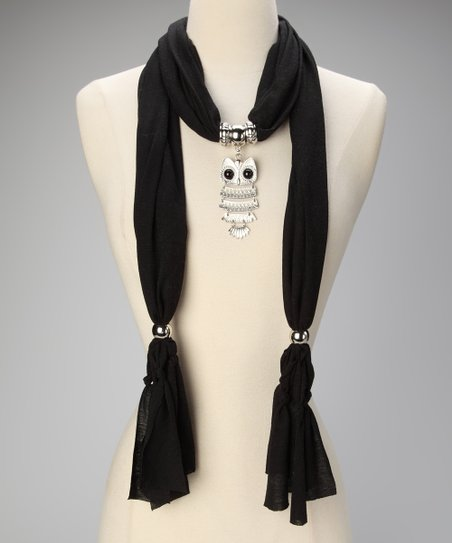Black Owl Pendant Scarf