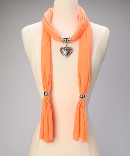 Neon Orange Heart Pendant Scarf