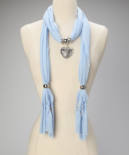 Light Blue Heart Pendant Scarf