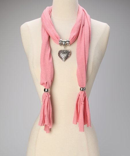 Light Coral Heart Pendant Scarf
