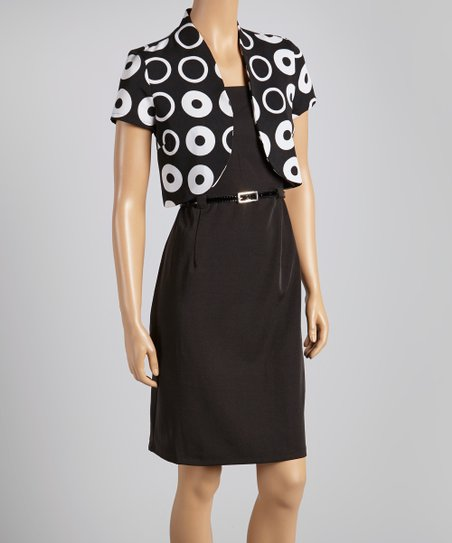 Black & White Circle Belted Sheath Dress & Shrug