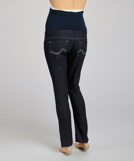 Dark Denim Sequin Over-Belly Maternity Skinny Jeans