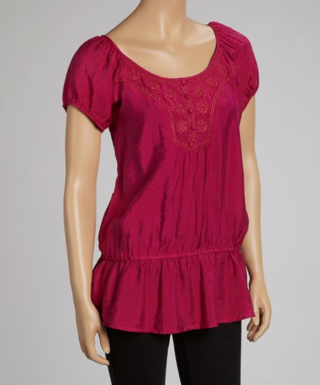 Fuchsia Lace-Back Drop-Waist Top