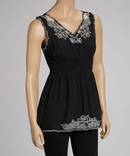 Black Embroidered Blossom Sleeveless Top