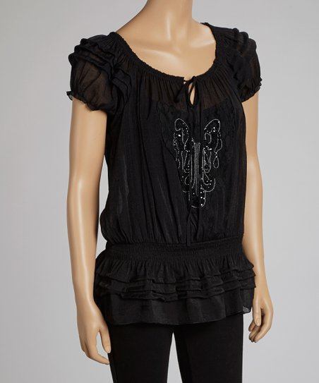 Black Beaded Drop-Waist Top