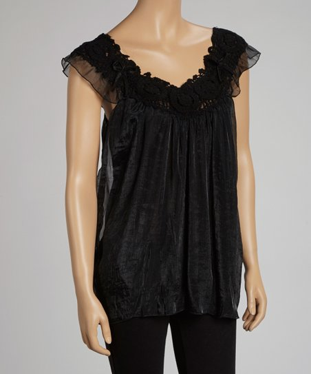 Black Crocheted Lace Angel-Sleeve Yoke Top