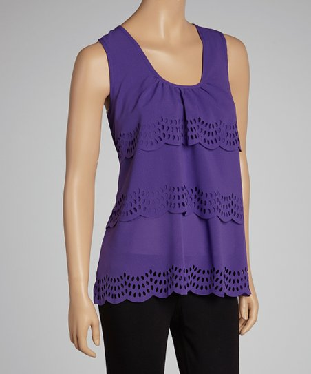 Plum Eyelet Scoop Neck Tank