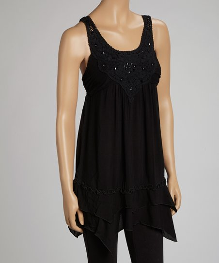 Black Beaded Lace Handkerchief Tank